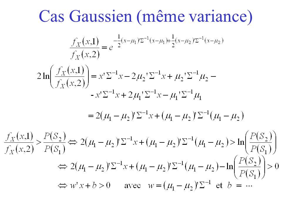 Cas Gaussien (même variance)