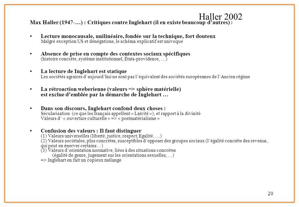 Haller 2002 Max Haller (1947-…) : Critiques contre Inglehart (il en existe beaucoup d'autres) :