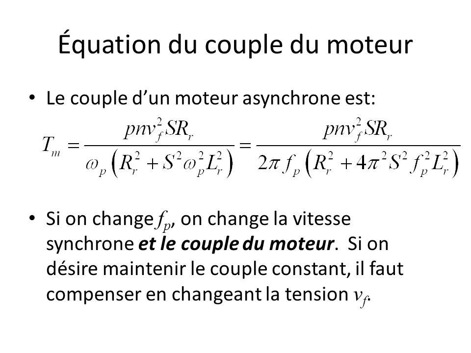 Équation du couple du moteur