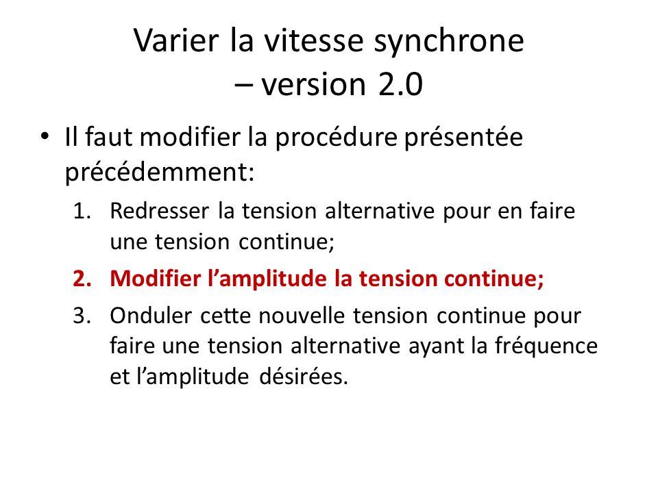 Varier la vitesse synchrone – version 2.0