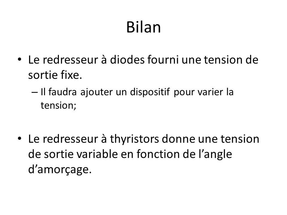 Bilan Le redresseur à diodes fourni une tension de sortie fixe.