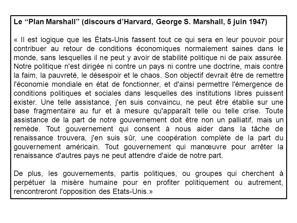 Le ''Plan Marshall'' (discours d'Harvard, George S