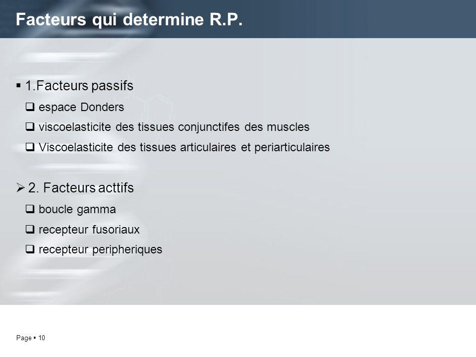 Facteurs qui determine R.P.