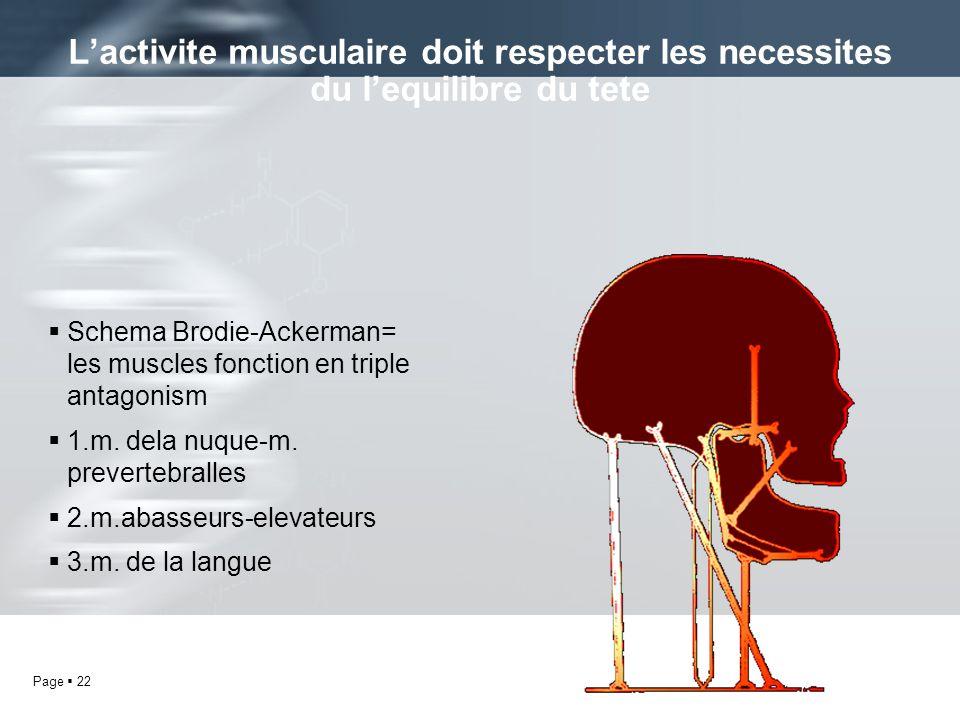 L'activite musculaire doit respecter les necessites du l'equilibre du tete