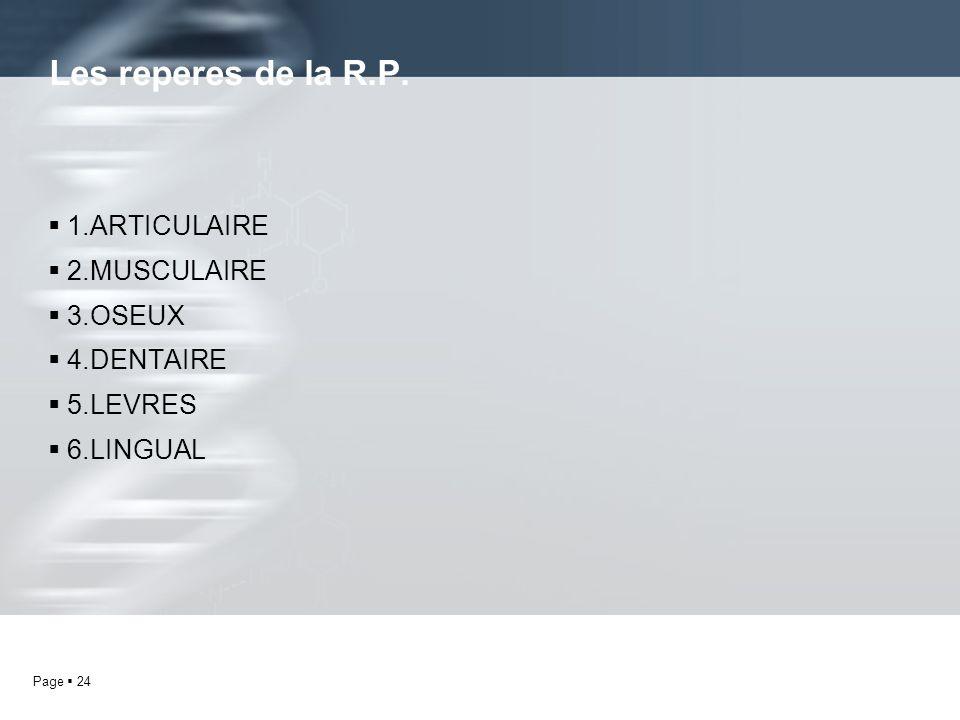 Les reperes de la R.P. 1.ARTICULAIRE 2.MUSCULAIRE 3.OSEUX 4.DENTAIRE
