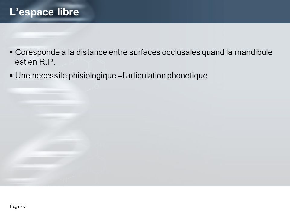 L'espace libre Coresponde a la distance entre surfaces occlusales quand la mandibule est en R.P.