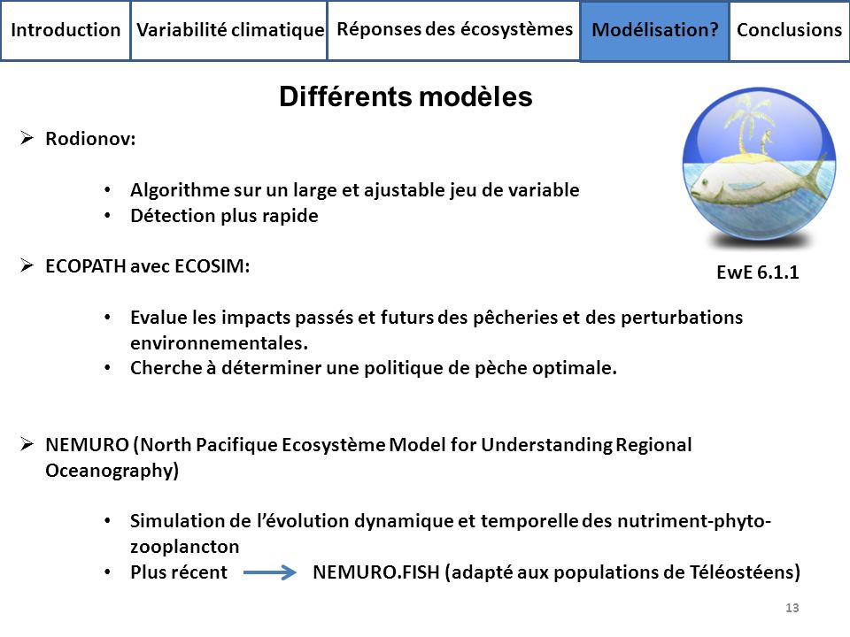 Différents modèles Introduction Variabilité climatique