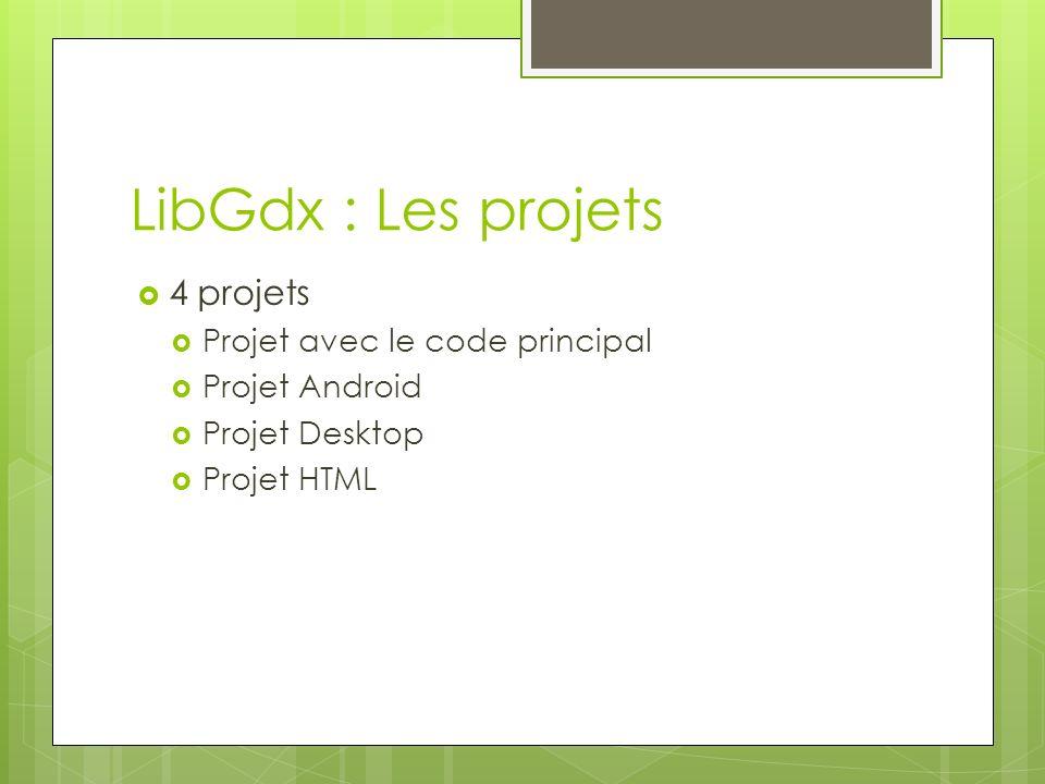 LibGdx : Les projets 4 projets Projet avec le code principal