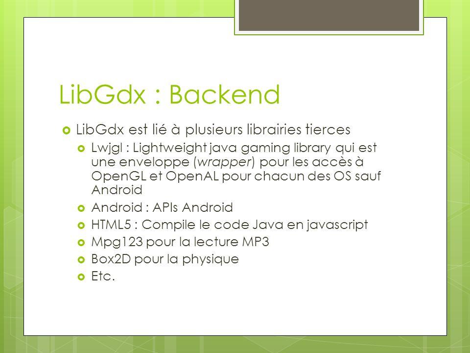 LibGdx : Backend LibGdx est lié à plusieurs librairies tierces