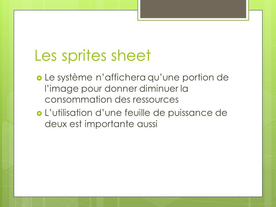 Les sprites sheet Le système n'affichera qu'une portion de l'image pour donner diminuer la consommation des ressources.
