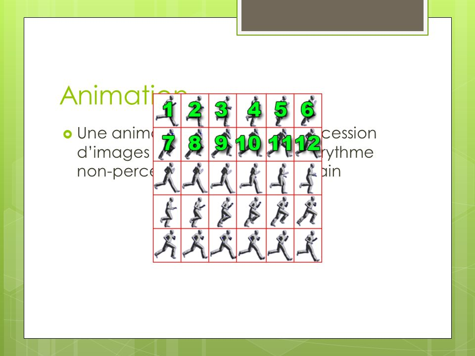 Animation Une animation n'est qu'une succession d'images fixe qui s'affiche à un rythme non-perceptible pour l'œil humain.