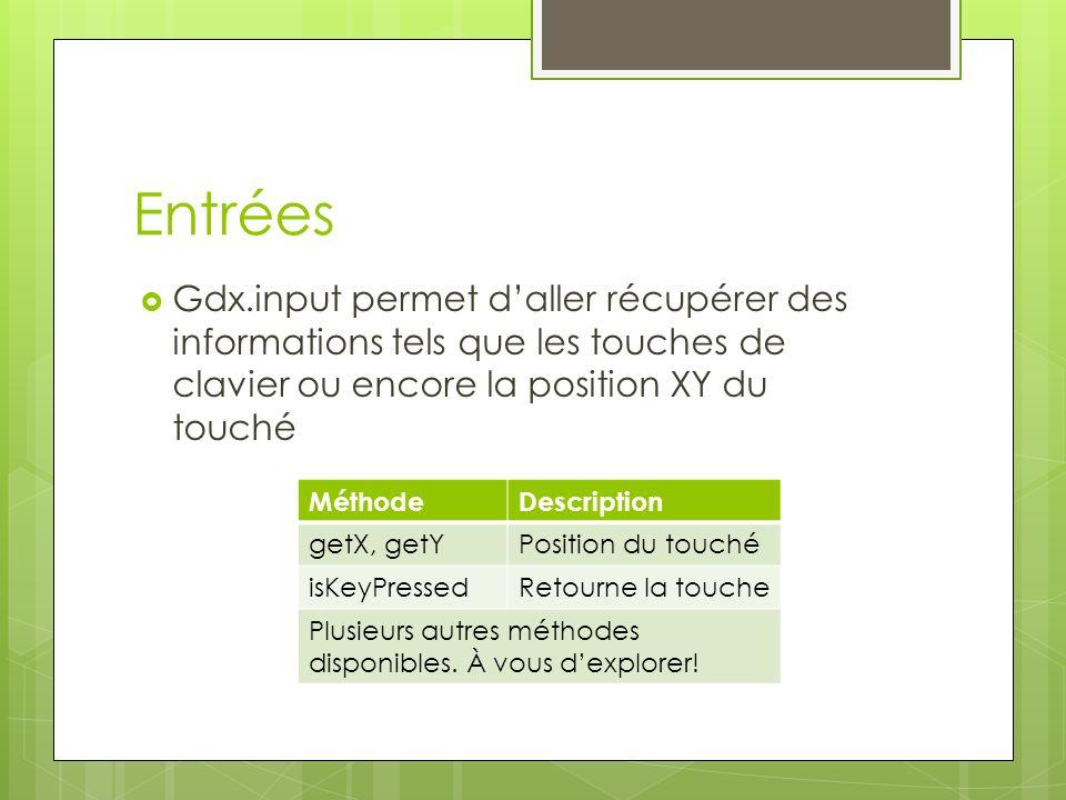 Entrées Gdx.input permet d'aller récupérer des informations tels que les touches de clavier ou encore la position XY du touché.