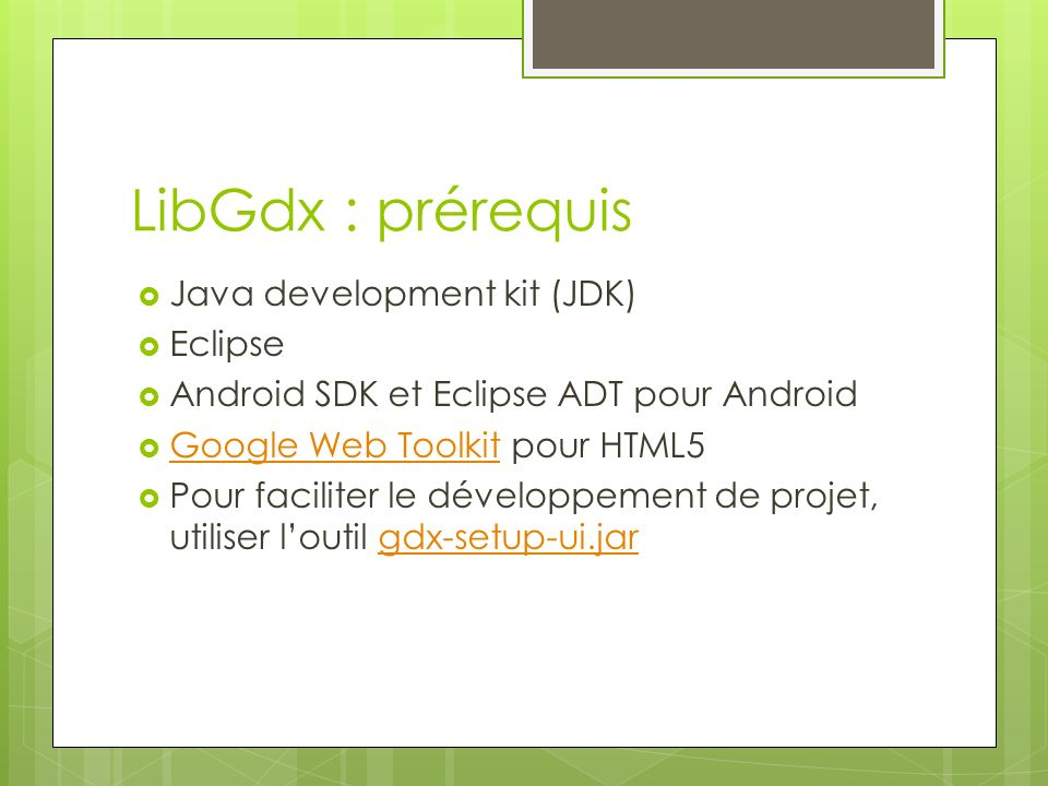 LibGdx : prérequis Java development kit (JDK) Eclipse