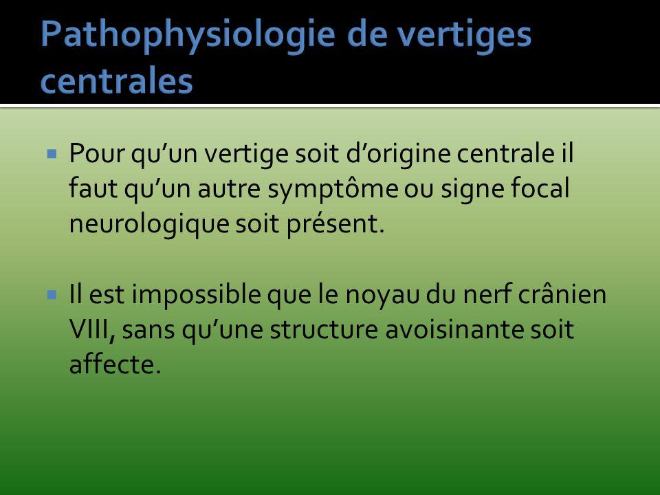 Pathophysiologie de vertiges centrales
