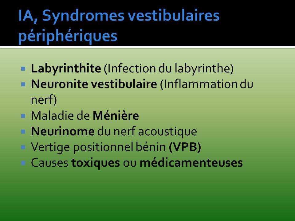 IA, Syndromes vestibulaires périphériques
