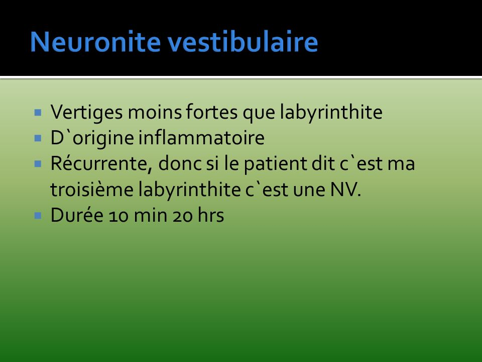 Neuronite vestibulaire