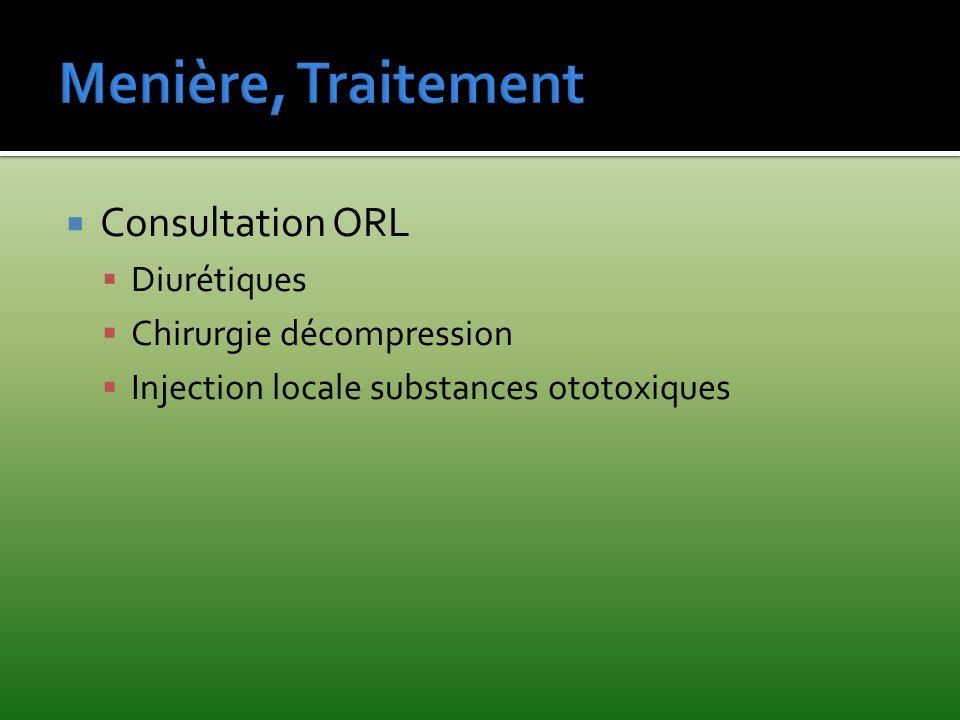 Menière, Traitement Consultation ORL Diurétiques