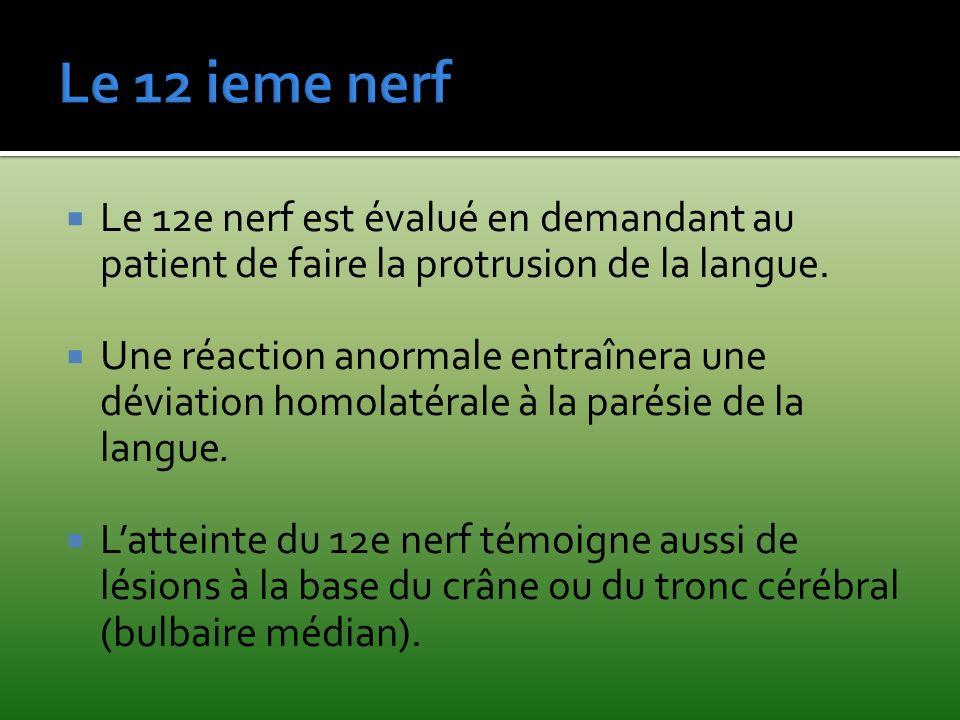 Le 12 ieme nerf Le 12e nerf est évalué en demandant au