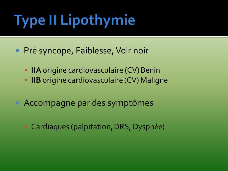 Type II Lipothymie Pré syncope, Faiblesse, Voir noir