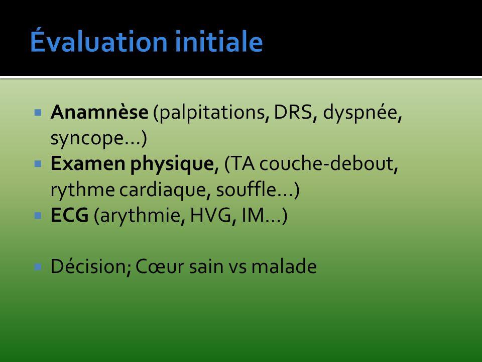 Évaluation initiale Anamnèse (palpitations, DRS, dyspnée, syncope…)