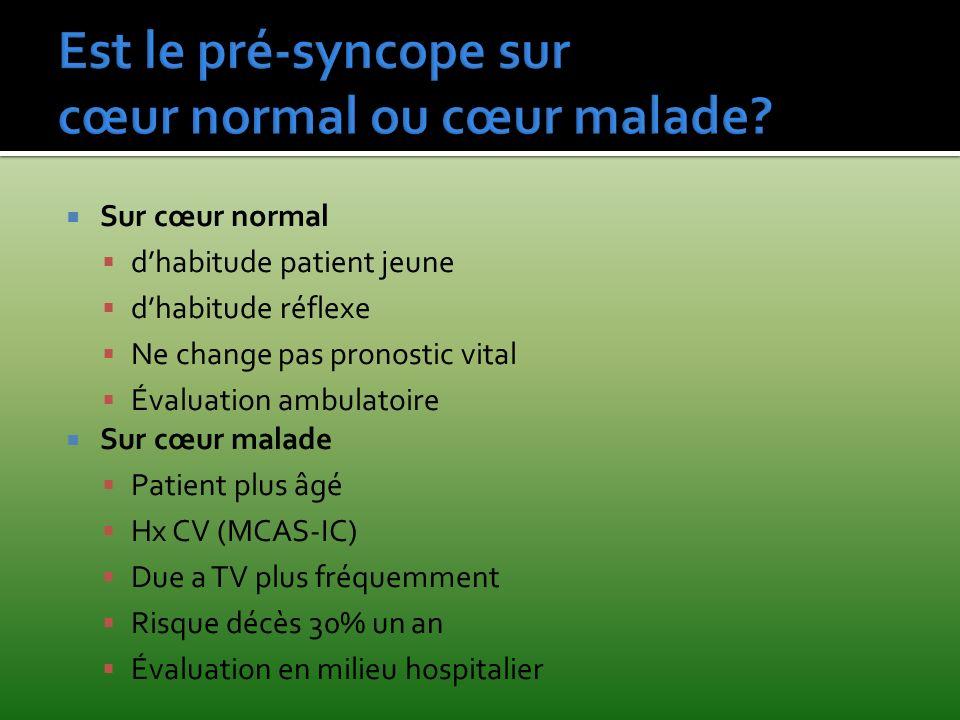 Est le pré-syncope sur cœur normal ou cœur malade