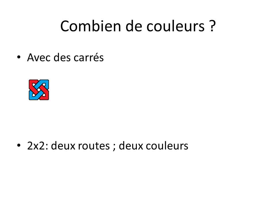 Combien de couleurs Avec des carrés 2x2: deux routes ; deux couleurs