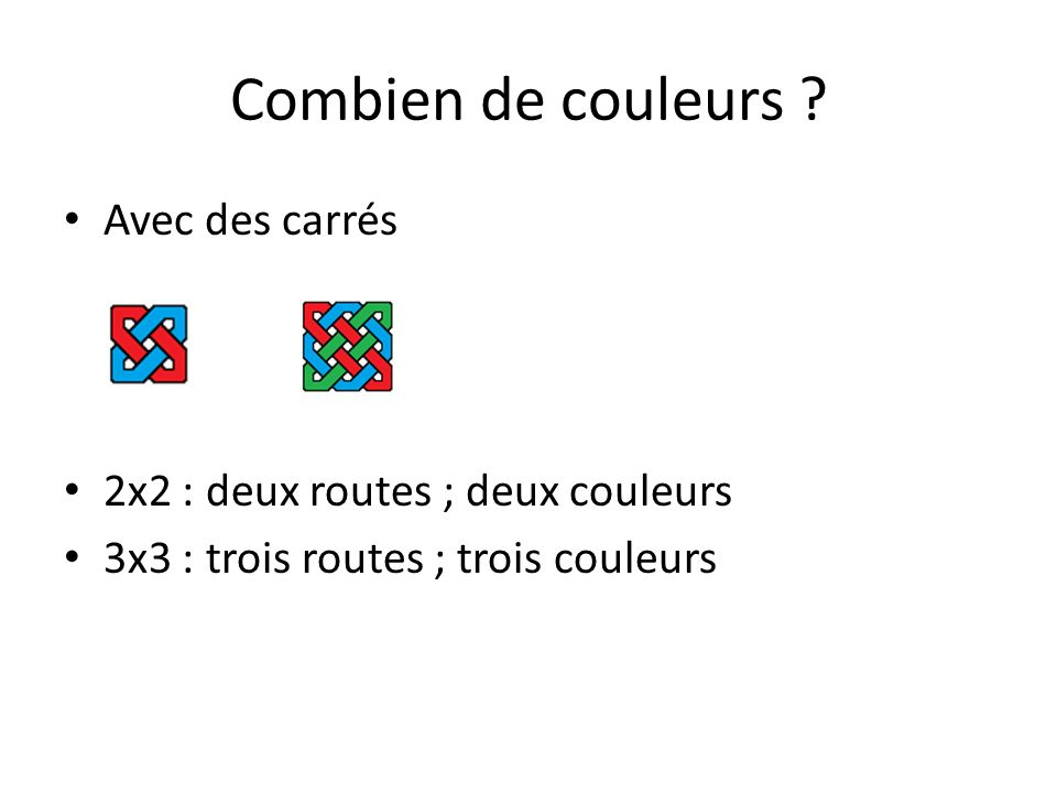 Combien de couleurs Avec des carrés