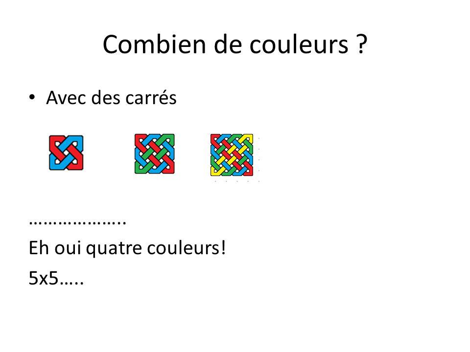 Combien de couleurs Avec des carrés ……………….. Eh oui quatre couleurs!