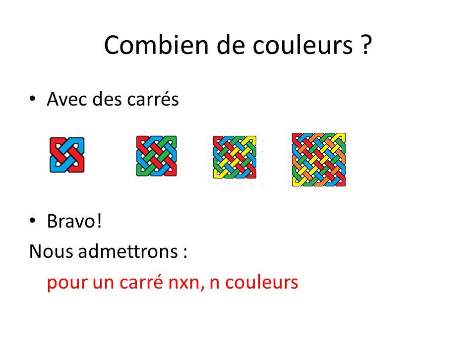 Combien de couleurs Avec des carrés Bravo! Nous admettrons :