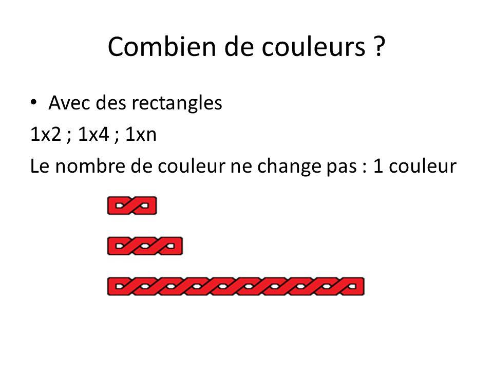 Combien de couleurs Avec des rectangles 1x2 ; 1x4 ; 1xn