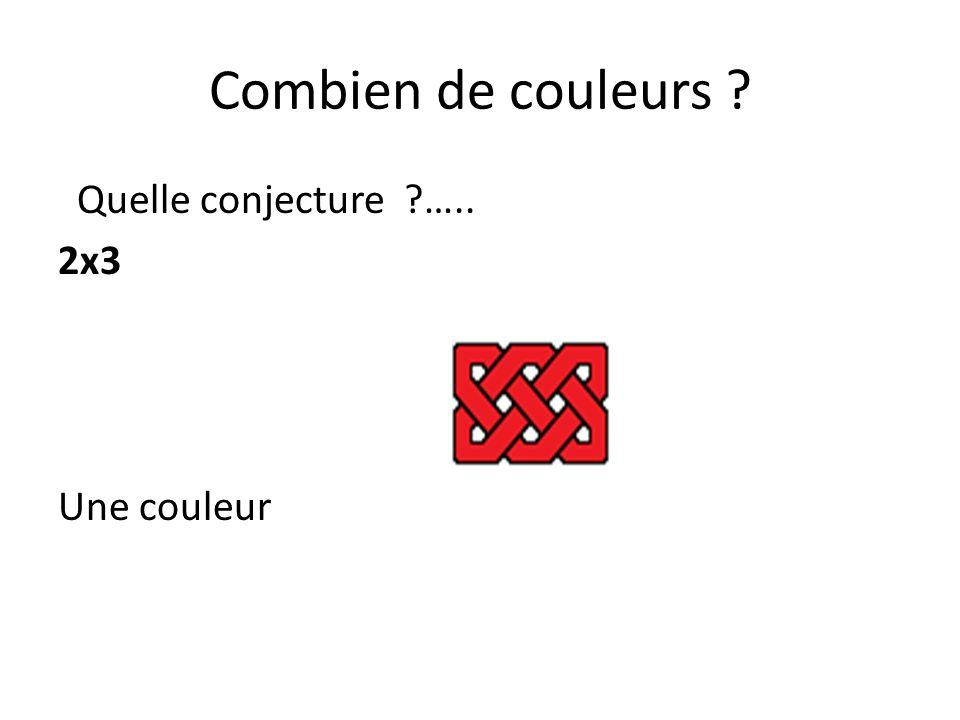 Combien de couleurs Quelle conjecture ….. 2x3 Une couleur