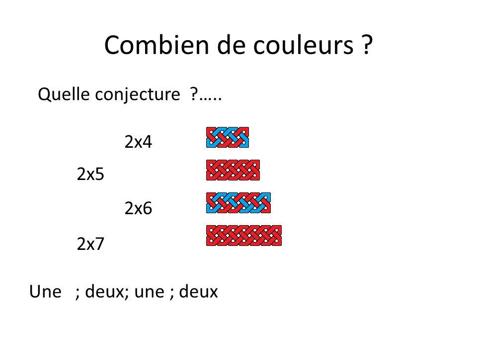 Combien de couleurs Quelle conjecture ….. 2x4 2x5 2x6 2x7 Une ; deux; une ; deux
