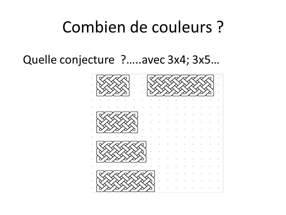Combien de couleurs Quelle conjecture …..avec 3x4; 3x5…