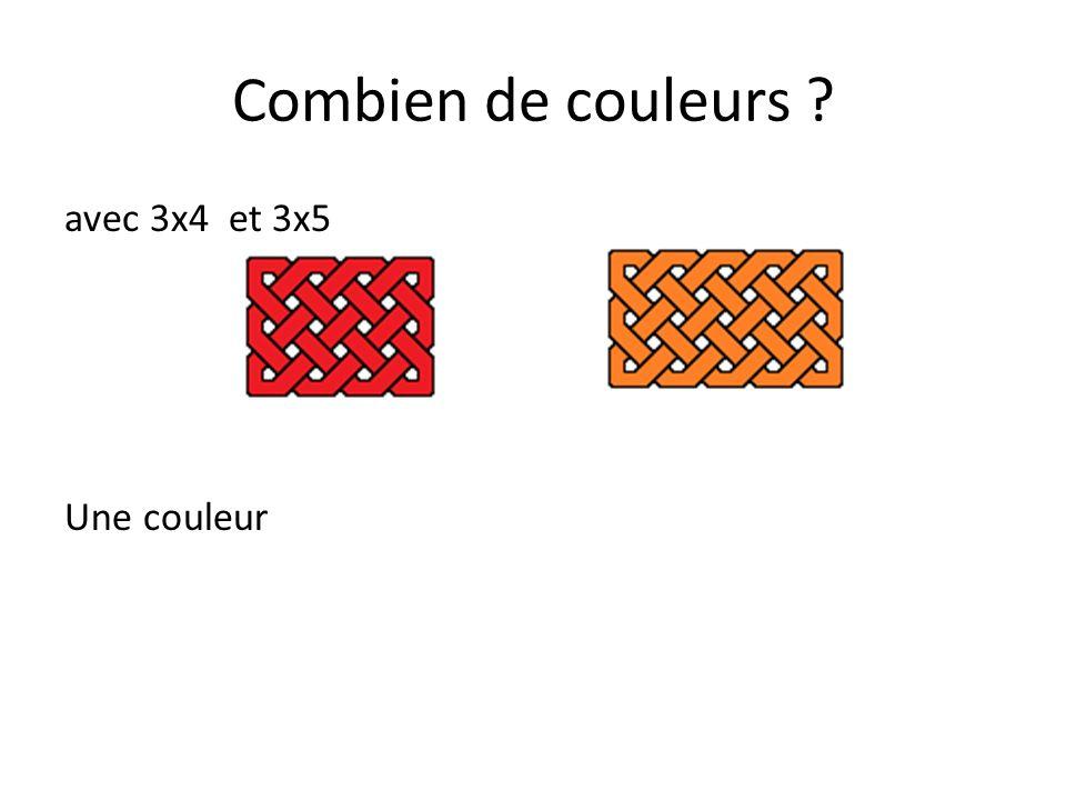 Combien de couleurs avec 3x4 et 3x5 Une couleur