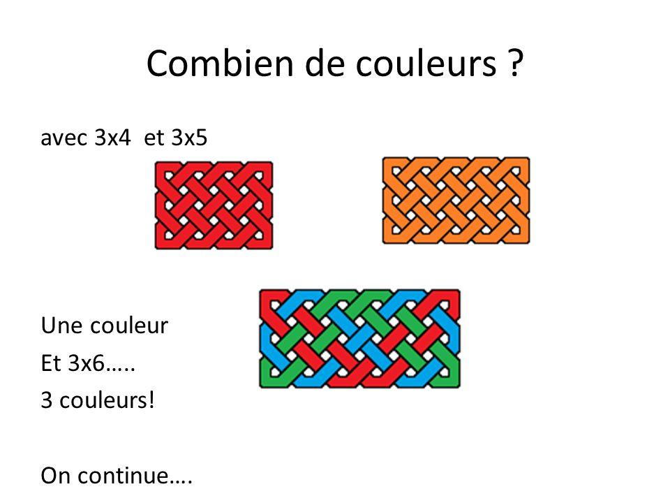 Combien de couleurs avec 3x4 et 3x5 Une couleur Et 3x6….. 3 couleurs! On continue….
