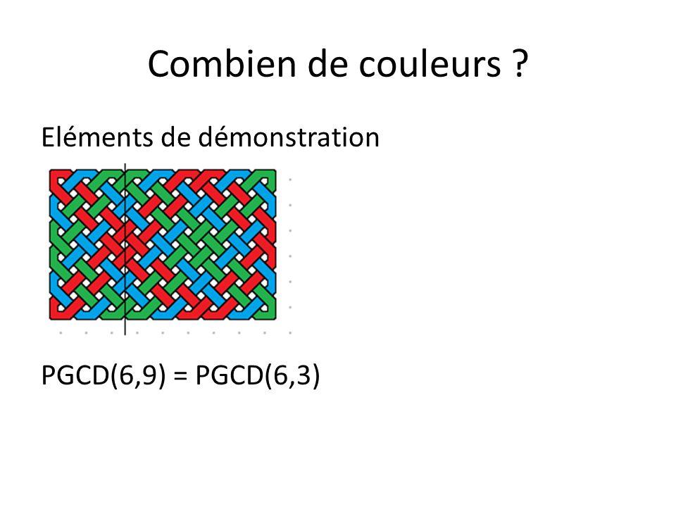 Combien de couleurs Eléments de démonstration PGCD(6,9) = PGCD(6,3)