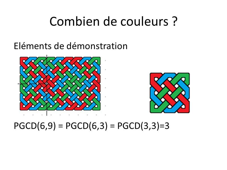 Combien de couleurs Eléments de démonstration PGCD(6,9) = PGCD(6,3) = PGCD(3,3)=3