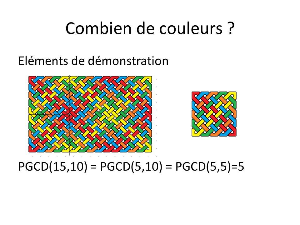 Combien de couleurs Eléments de démonstration PGCD(15,10) = PGCD(5,10) = PGCD(5,5)=5