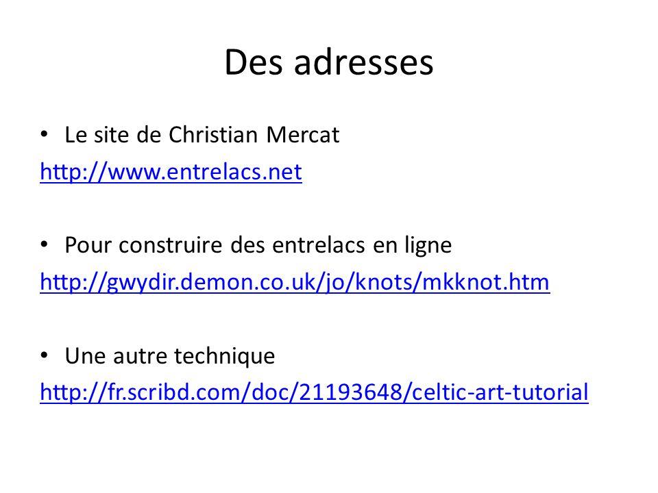 Des adresses Le site de Christian Mercat http://www.entrelacs.net