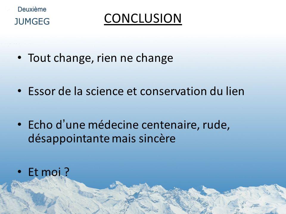 CONCLUSION Tout change, rien ne change