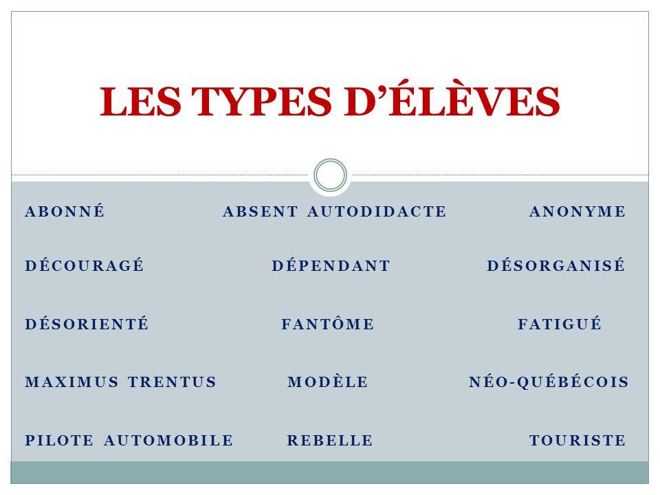 LES TYPES D'ÉLÈVES ABONNÉ ABSENT AUTODIDACTE ANONYME