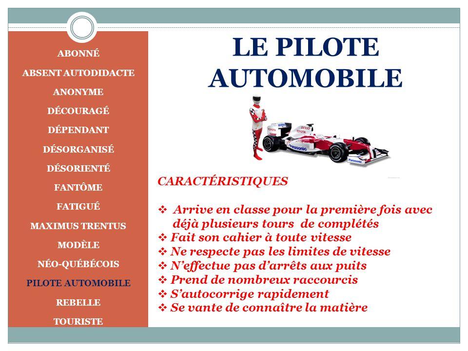 LE PILOTE AUTOMOBILE CARACTÉRISTIQUES
