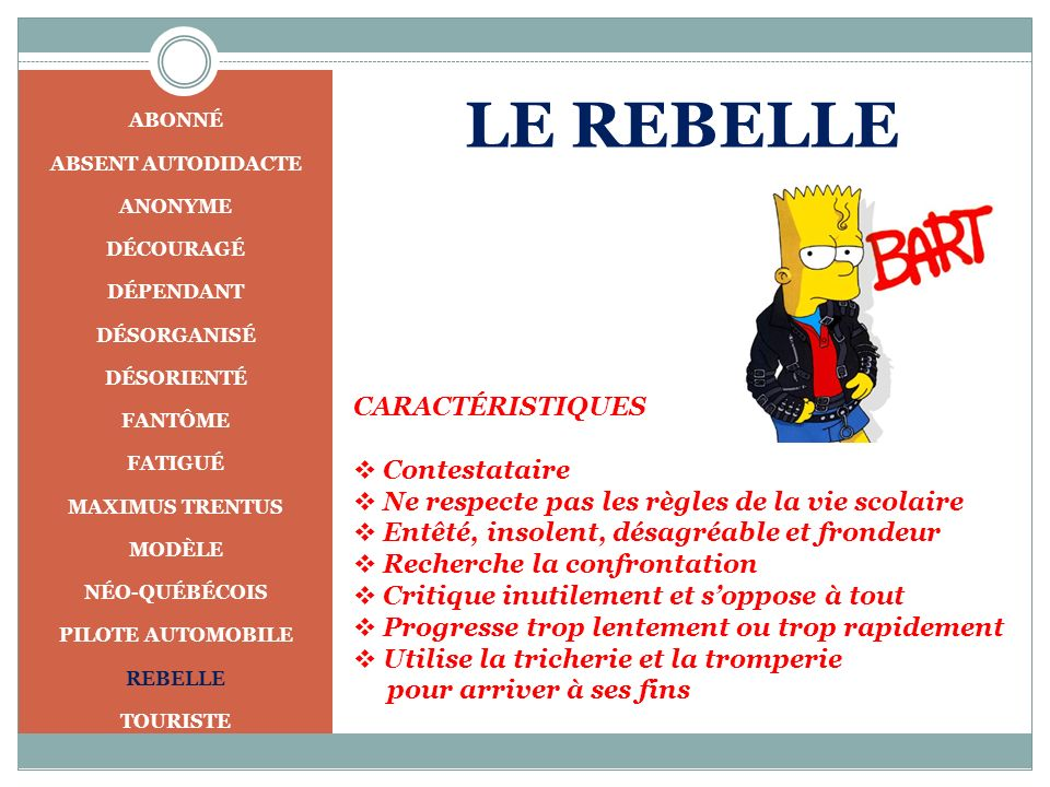 LE REBELLE CARACTÉRISTIQUES Contestataire