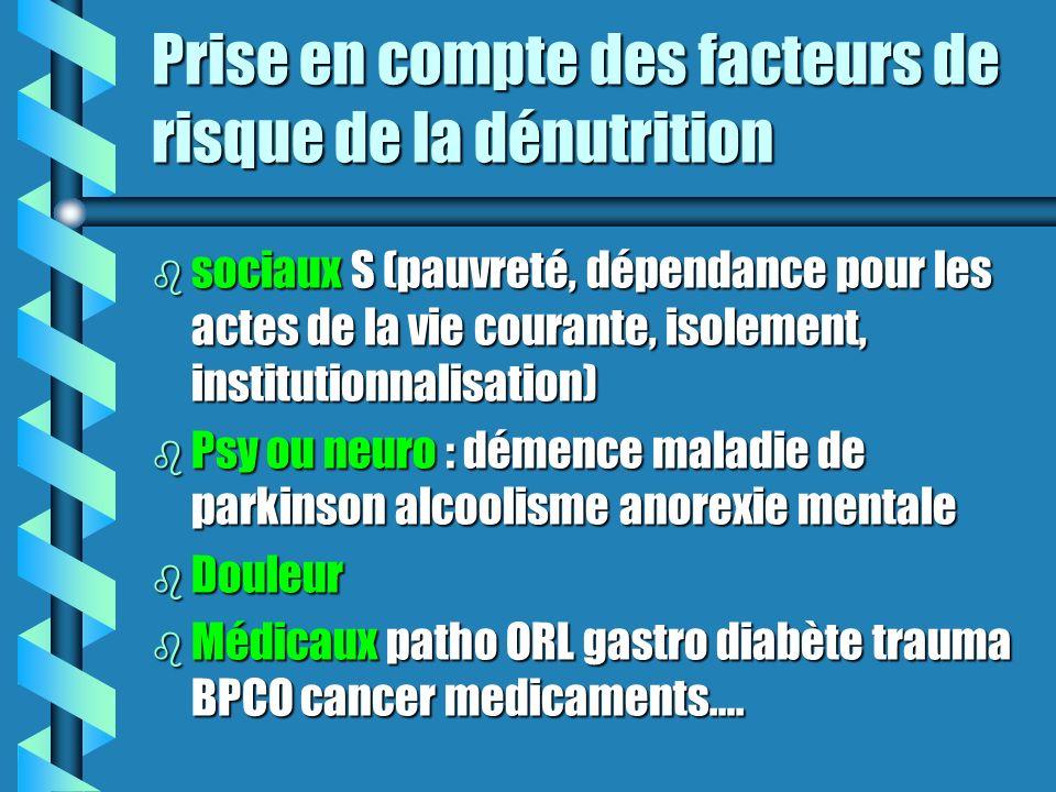 Prise en compte des facteurs de risque de la dénutrition