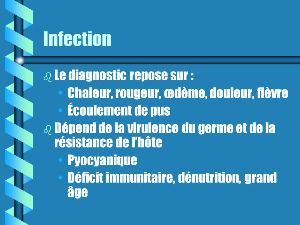 Infection Le diagnostic repose sur :