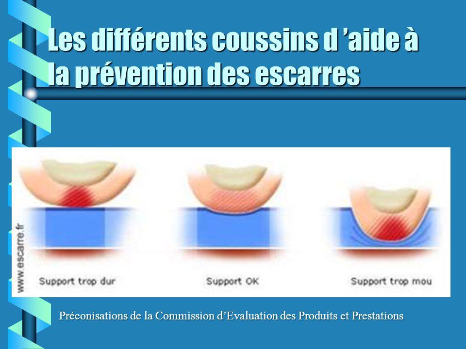 Les différents coussins d 'aide à la prévention des escarres