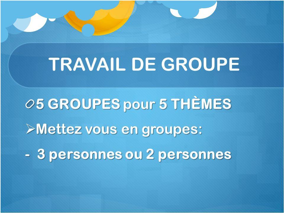 TRAVAIL DE GROUPE 5 GROUPES pour 5 THÈMES Mettez vous en groupes: