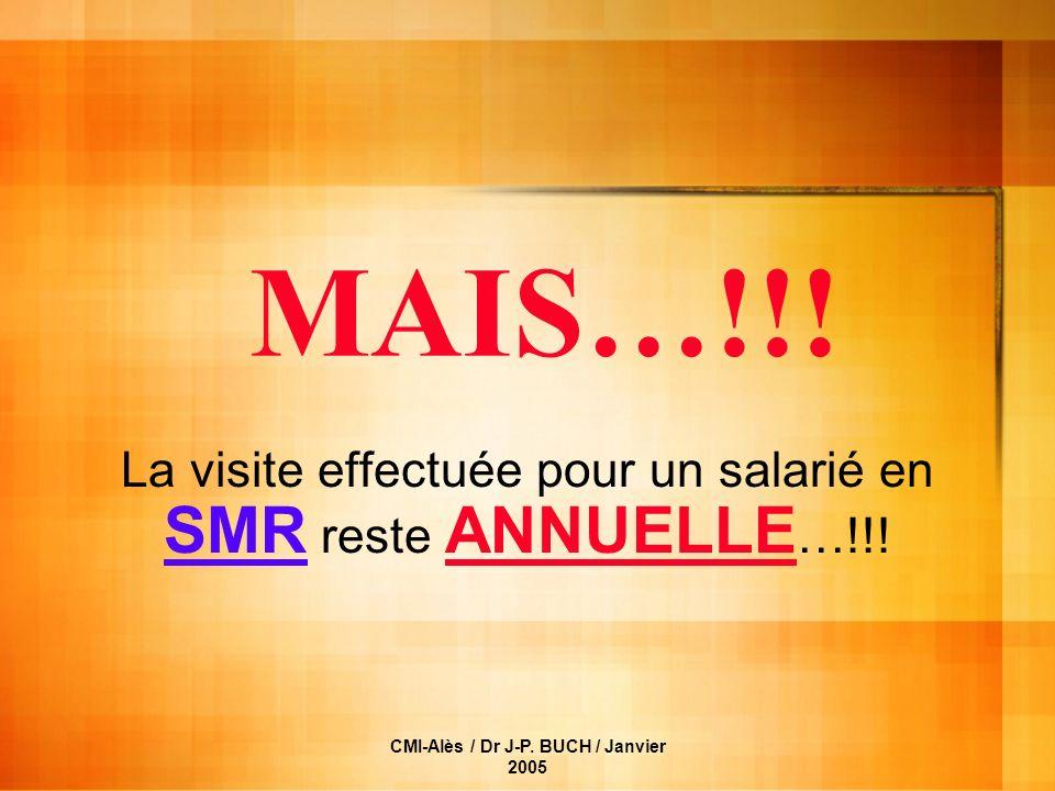 La visite effectuée pour un salarié en SMR reste ANNUELLE…!!!