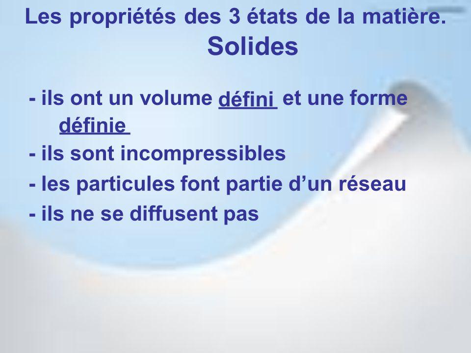 Les propriétés des 3 états de la matière. Solides