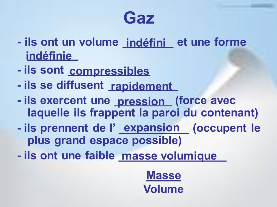 Gaz - ils ont un volume ________ et une forme ________ indéfini